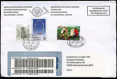 Cyprus 2006 Registered Cover To Italy #C17179
