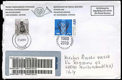 Cyprus 2010 Registered Cover To Italy #C17176