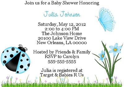 10 Sweet Spring Ladybugs & Butterflies - Personalized Baby Shower Invitations