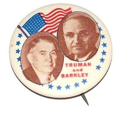 1948 HARRY TRUMAN Barkley pin pinback button campaign political RARE JUGATE