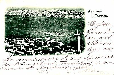 Damas Syria city view antique 1898 postcard to Berlin Germany