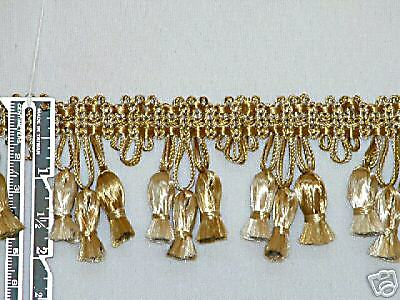 "2"" Attractive Tassel Fringe Trim Antique Gold Per Yard"
