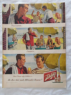 1948 Large Magazine Advertisement Page Schlitz Beer Milwaukee Vintage Sign Ad
