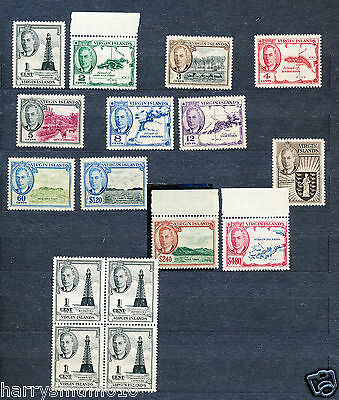 Virgin islands 1952 stamps  set to $4.80 plus 1c block of 4 MNH