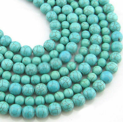 100% New Natural Turquoise Gemstone Round Spacer Loose Beads Findings 4 6 8 10mm