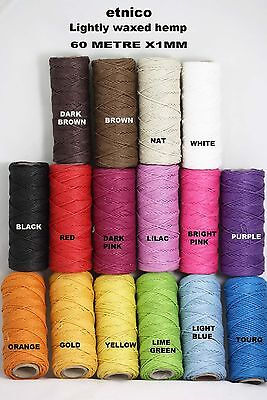 Hemp Cord, twine  - 60 Metre  x 1MM  Light bees wax coating   smooth and strong