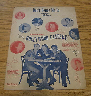 VINTAGE SHEET MUSIC DON'T FENCE ME IN HOLLYWOOD CANTEEN COLE PORTER BETTE DAVIS