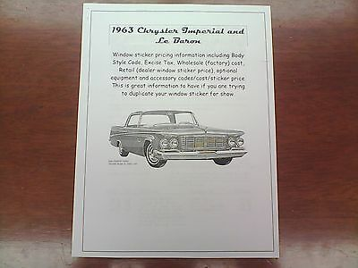 1963 Chrysler Imperial factory cost/dealer sticker pricing for car + options