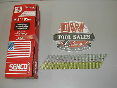 "MADE IN USA Senco 15 Gauge 34 Degree DA Finish Nails 2 1/2"" Galvanized (3,000)"
