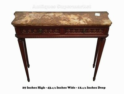 CHARMING CARVED MAHOGANY & MARBLE FRENCH LOUIS XVI STYLE CONSOLE TABLE 10706