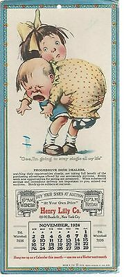 1924 LILLY Reade St. NYC Shoe Sales Cartoon Brown & Bigelow Ink Calendar Blotter