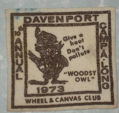 """Woodsy Owl Patch - Davenport Camp a Long- 19734"""" x 3 3/4""""  -  Last One!"""