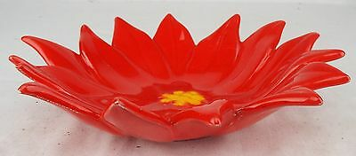 """Ceramic Strawberry Bloom Bowl Art Pottery Blossom 7.75"""" Collectable Home Decor"""