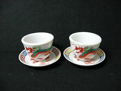 Lot 4 Red Dragon  F S LOUIE BERKELEY butter pats saucers coasters  tea cups