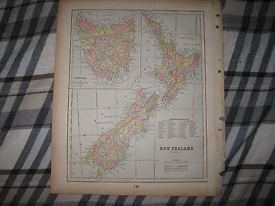 Superb Detailed Antique 1893 Queensland Victoria Australia New Zealand Map Nr
