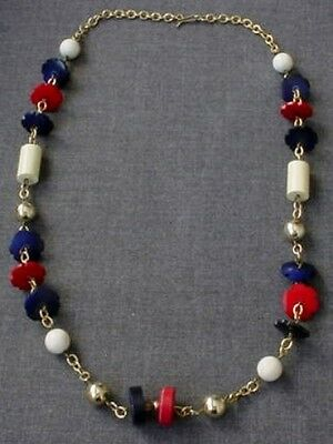 VINTAGE 80'S RED, BLUE & RED FLOWERS & PLASTIC BEADS GOLDEN METAL NECKLACE