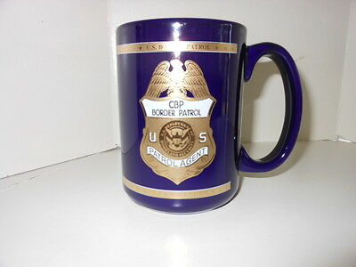U.s. Border Patrol Porcelain Coffee Mug Blue Gold Accents New