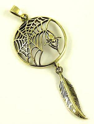 **bronze Spider & Web Pendant With Feather & Waxed Cord Necklace**