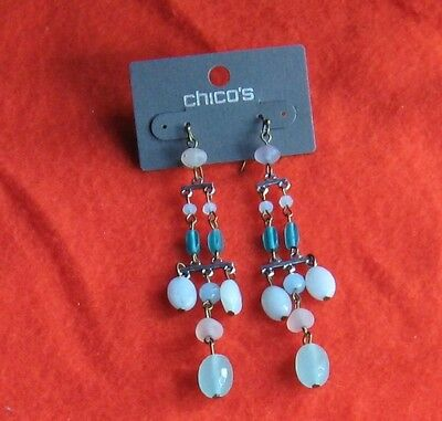Chicos Brasstone Dusya Chand Shades of Aqua & Frosted Bead Earrings
