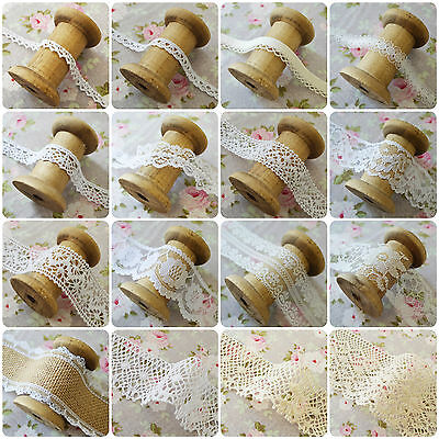 Vintage Style Lace Trim Crochet Ivory White Cream Wedding Sewing Bridal Ribbon