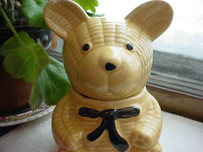 Vintage Interpur Honey Pot Bear Shape with Stick As-Is Cute for Collection Decor