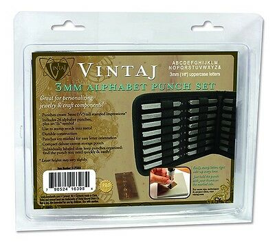 Beadsmith Vintaj Letter Punch Set w/ case 3MM Alphabet Personalize Metal Jewelry