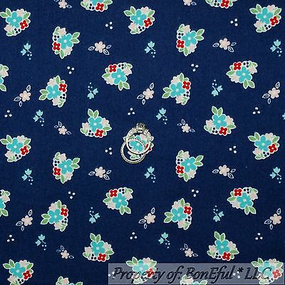 BonEful Fabric FQ Flannel Cotton Quilt Navy Blue FLOWER S White Red Country Girl