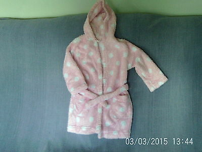 Girls 3-4 Years - Pink with White Spots Fleece Hooded Dressing Gown - M&S