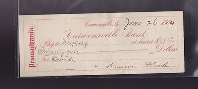 Curwensville Bank Used Bank Check 1904 Pennsylvania