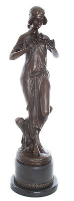Hot Cast Bronze Lady With Flowers On Marble Signed Pitta Luga