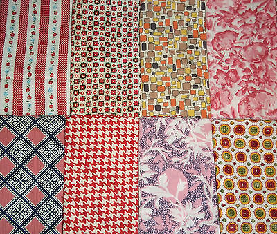 Lot of 15 VINTAGE COTTON FABRIC PIECES Quilting Red Pink White Floral Stripes