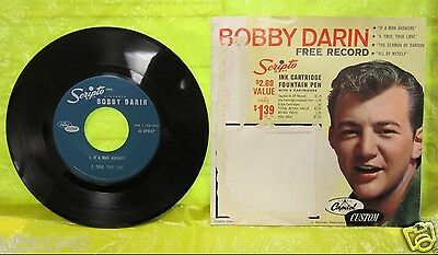 BOBBY DARIN 45 RPM-EP VINYL RECORD IF A MAN ANSWERS TRUE LOVE SERMON + SLEEVE