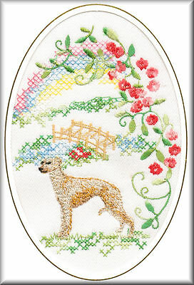 Whippet Rainbow Bridge Card Embroidered by Dogmania