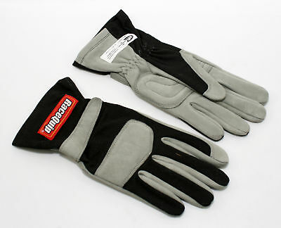 RaceQuip 351006 X-Large 1-Layer Black Auto Racing Driving Gloves Nomex SFI Rated