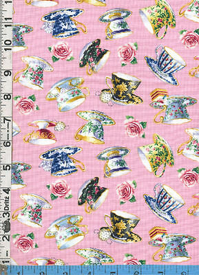 Fabric Elizabeth TEACUPS AND ROSES small teacups on PINK