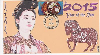 Jvc Cachets - 2015 Lunar Year Of The Ram Issue First Day Cover Fdc Topical #2