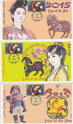 Jvc Cachets - 2015 Lunar Year Of The Ram Set Of 3 First Day Covers Fdc Topical