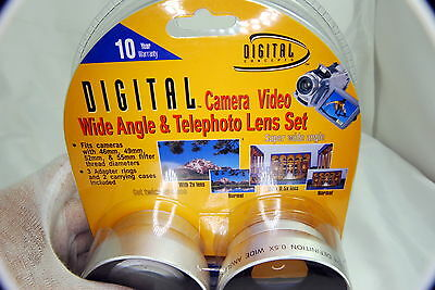AUX Lens kit Digital Concepts 0.5X Wid eangle and 2X Telephoto NEW 49mm 52mm 55m
