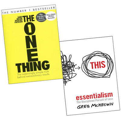 One Thing, Essentialism Disciplined Pursuit of Less 2 Books Collection Set NEW