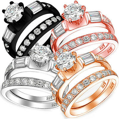 Sterling Silver 3 Stone Clear CZ 6 Prong Engagement 2 in 1 Ring Set Size 3-11