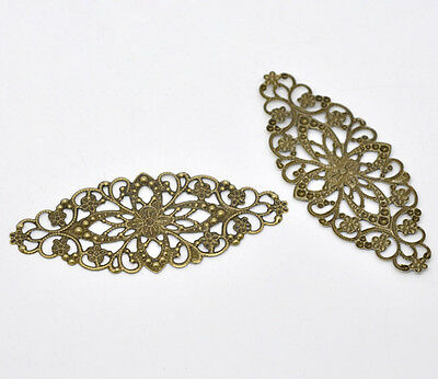 30 Bronze Tone Filigree Flower Wraps Connector Jewelry Findings