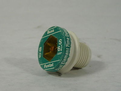 Buss Fustat S-6-1/4 Dual Element Plug Fuse 6-1/4amp Sold Individually ! NEW !