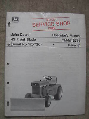John Deere 43 Front Blade Operators manual New Old Stock NOS