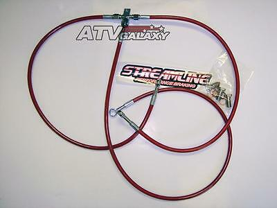 "Streamline Front Brake Lines +3"" Red Yamaha Banshee 350 All Years 02 03 04 05 06"