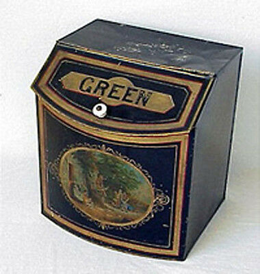 Antique Country Store Green tea Tin litho bin