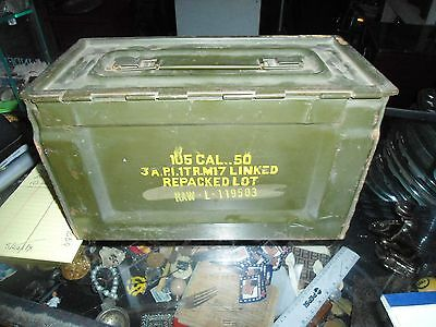 Vintage WWII Era US Army Cal 50M2 .50 Caliber Ammo Storage Box / Can