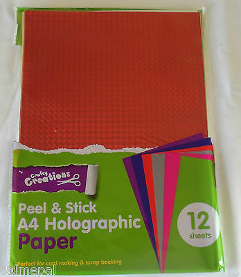 Peel and Stick A4 Coloured Paper 12 Sheets of mixed Holographic