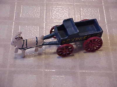 Vintage Colorful Cast Iron Goat Drawn Express Wagon