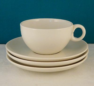 WHITE IROQUOIS CASUAL CHINA RUSSEL WRIGHT 1 Flat White Cup Ring Handle,3 Saucers