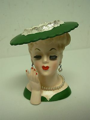 1958 NAPCO LOVELY LADY HEAD VASE w GREEN HAT, LONG LASHES, PEARLS & HAND 4.5""